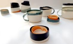 porcelain salt and pepper cellar; asymmetrical edges