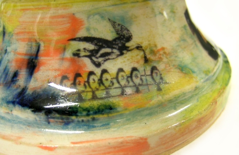 detail: earthenware, coloured slips with ceramic transfers; Max height = 38cm