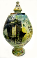 earthenware, coloured slips with ceramic transfers; Max height = 38cm