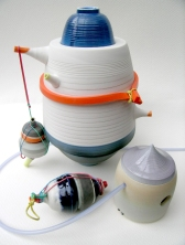 assemblage of porcelain vessels; latex additions; Max height = 24cm