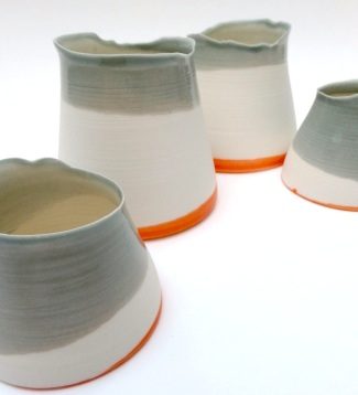 Orange and grey pouring vessels - porcelain