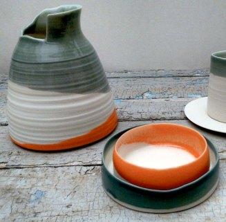 porcelain vessels, asymmetrical edges