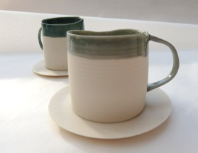 teal and grey espresso cups w saucer, uneven edges; porcelain
