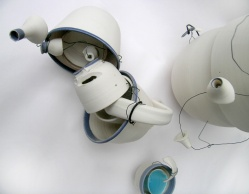 thrown and assembled porcelain; wire additions; Max height = 30cm