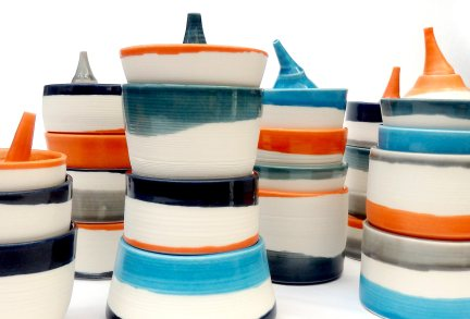 stacked vessels with lachrymatories; porcelain. Max height = 18 cm