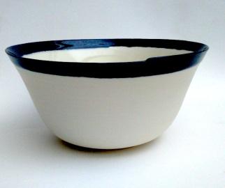 porcelain vessel with slight asymmetric rim