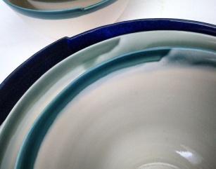 Stacked porcelain bowls; glaze detail