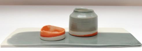 low plinth and vessels, porcelain