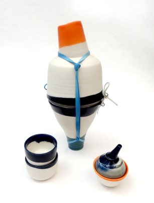 standing lachrymatory; thrown and assembled porcelain with latex and wire additions. Max height = 18 cm
