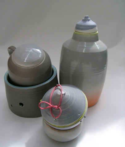assemblage of porcelain vessels; latex additions