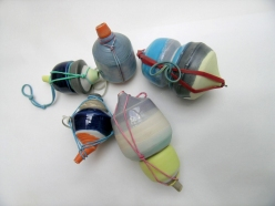 """From the """"Rongo Rongo; Forgotten Function"""" series. Assemblage of porcelain vessels; latex additions. Assemblage of porcelain objects; latex additions"""