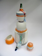 assemblage of porcelain vessels; latex additions. Max height = 37cm