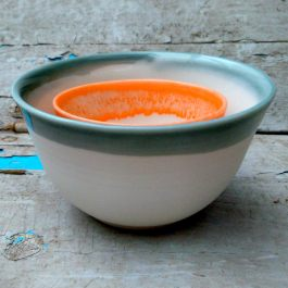 grey and orange porcelain bowls