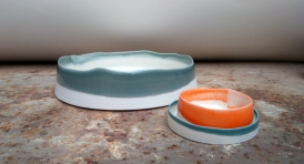 large grey dish with uneven edge