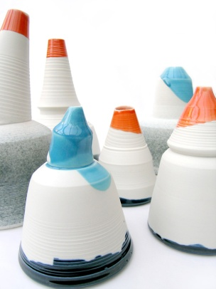 large vessels; thrown and assembled porcelain