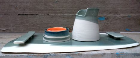 porcelain tray and vessel w asymmetric rim