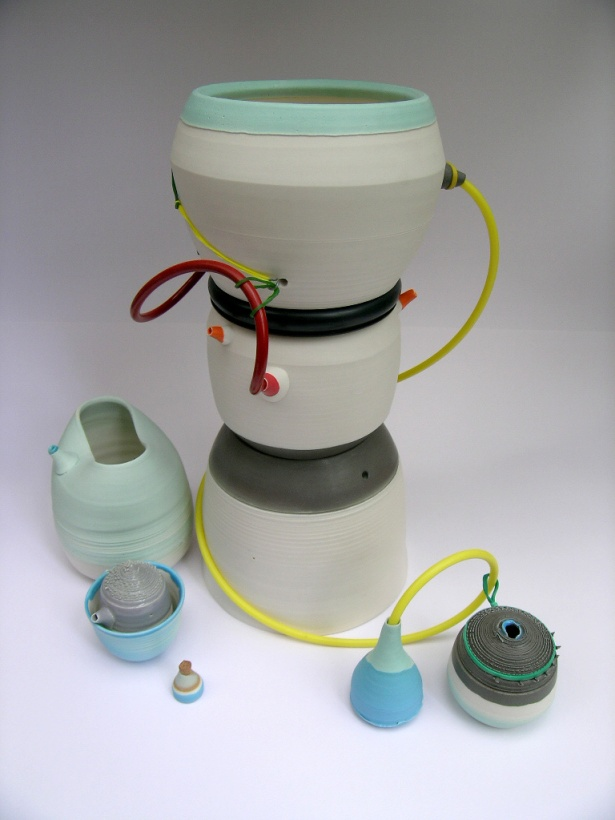 assemblage of porcelain vessels; latex additions; Max height = 40cm