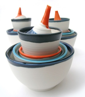 bowls and small lachrymatories; porcelain