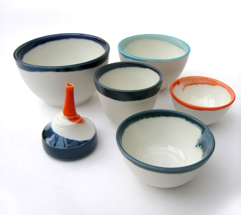 bowls and small lachrymatory; porcelain