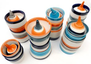 stacked vessels with lachrymatories; porcelain