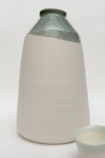 tall bottle form, porcelain