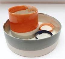 orange and grey vessels; porcelain