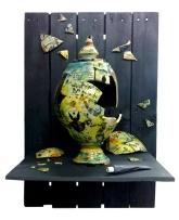 wall assemblage - ceramic, steel, wood.