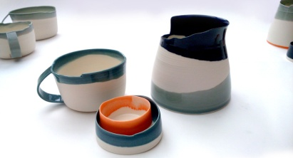 porcelain vessels - creamer, cup, sugar dish; asymmetrical edges