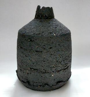 black stoneware bottle form w uneven edges