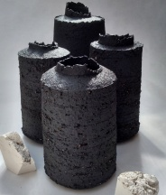 black stoneware bottle forms w uneven edges