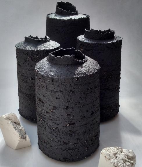 black stoneware bottle forms w uneven edges