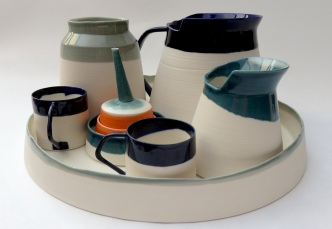 abstract tea set, porcelain
