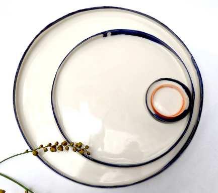 porcelain platters with uneven edges; 32cm max dia