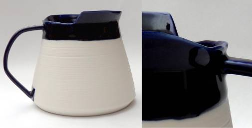 porcelain pitcher form with asymentrical rim