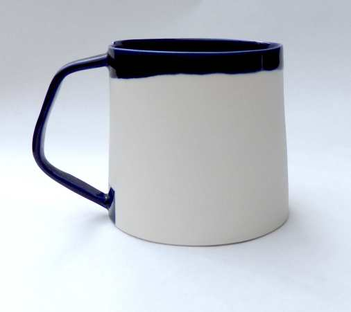 porcelain mug with angled handle