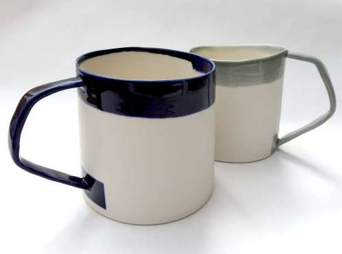 porcelain mugs with nagled handles - indigo / grey
