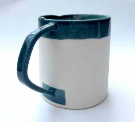 porcelain mug with angled handle - teal
