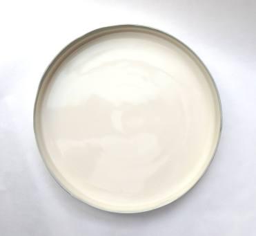 circular platter form - grey edge; porcelain. 26cm dia