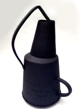 black stoneware vessel with asymmetrical handles, max height = 36cm
