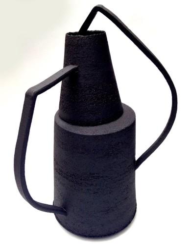 black stoneware vessel with asymmetrical handles