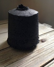 rough bottle form, black stoneware