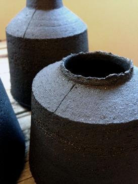 black stoneware bottle form
