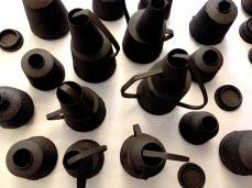 black stoneware vessels
