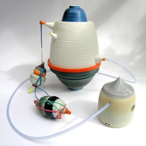 "From the ""Rongo Rongo; Forgotten Function"" series. Assemblage of porcelain vessels; latex additions"
