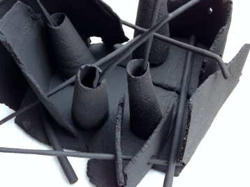 'Dead Language' series; black stoneware; Abstract assemblage of thrown and slab form; black stoneware