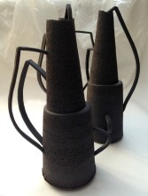 back stoneware vessels with abstract handles - 36cm max height