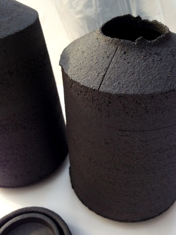 bottle form with single surface incision; unglazed stoneware
