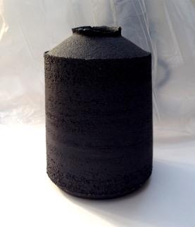 black stoneware jar form