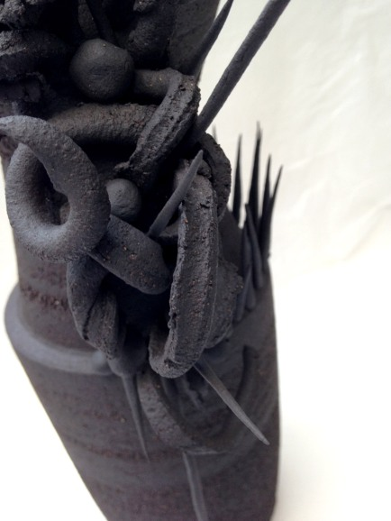 detail: baroque vessel with abstract handles, black stoneware - 40cm height