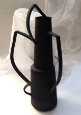 tall stoneware vessel with abstract handles